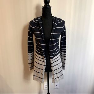 Autumn Cashmere Navy and Gray Striped Hooded Cardi